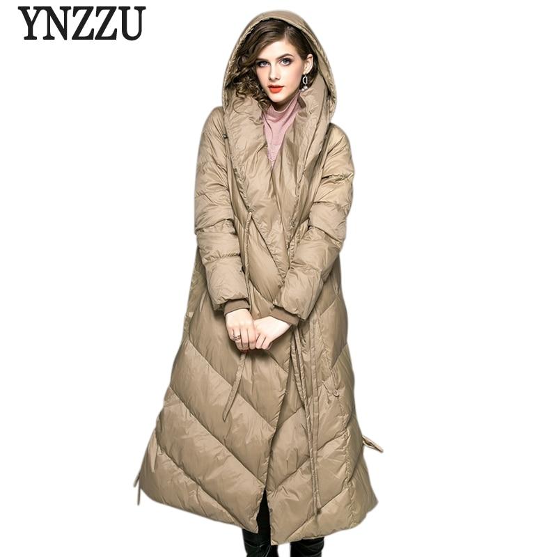 Brand Elegant Women's Down Jacket 2018 Winter Long Style 90% White Duck Down Coat Women Warm Hooded Lace Up Woman Outwears AO740