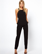 European women clothing Pop New jumpuit&rompers female sleeveless black jumpsuit pants back hollow out casual rompers TT525