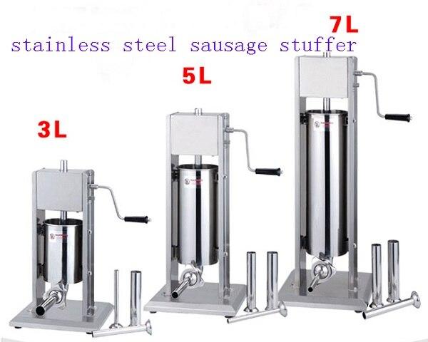 Livraison gratuite vente Chaude 3L 5L 7L 10L 15L verticale en acier inoxydable saucisse remplisseur de saucisse saucisse