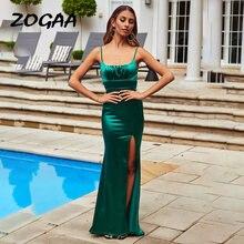 Женское атласное платье макси zogaa Зеленое Длинное облегающее