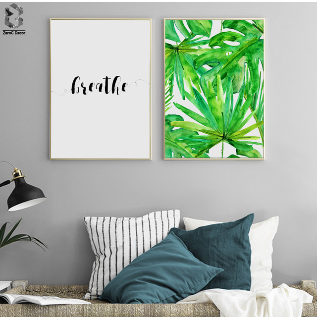 Watercolor Tropical Fresh Leaf Scandinavian Poster Wall Art Canvas Painting Minimalism Quotes Print Living Room Home