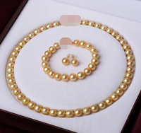 Free shipping 587 sets 9-10 mm gold yellow pearl necklace bracelet earrings