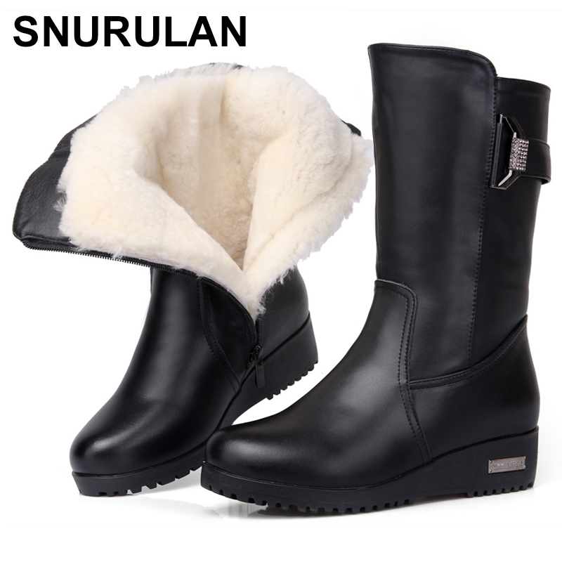 SNURULAN2018 nouvelles femmes en cuir véritable bottes plus coton dame bottes épais laine chaude coton laine chaussures meilleure qualité pour womenE556-in Bottines from Chaussures    1