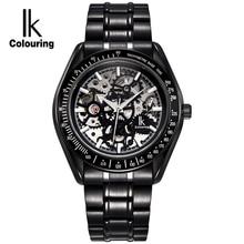 IK Colouring Luminous Hollow Skeleton Automatic Mechanical Watches Men Brand Luxury Full Steel Military Watch relogios feminino