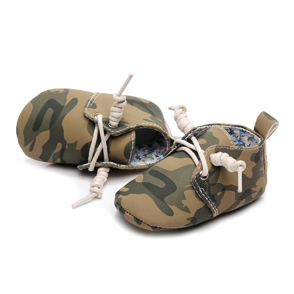 7cba4e1c807b7 US $4.9 25% OFF|Baby Shoes PU Leather For Girls Boys Baby Moccasins  Camouflage Sneaker Anti slip Hard Sole lace up Shoes 0 18M-in First Walkers  from ...