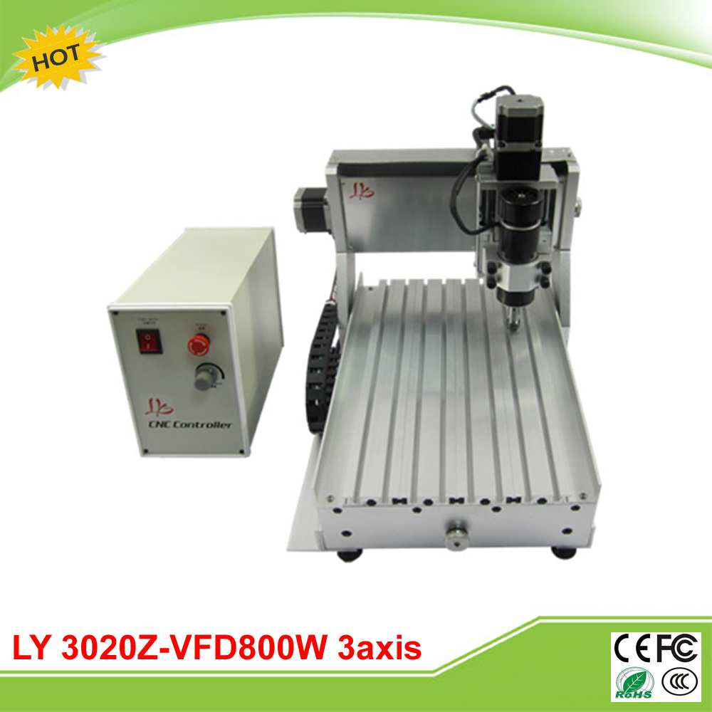 LY 3020Z-VFD800W 3 axis mini CNC milling machine lathe already assembled free tax to EU ly 6090v 2 2kw 3 axis mini cnc carving machine lathe vfd controller for 3d metal milling work duty free to ru
