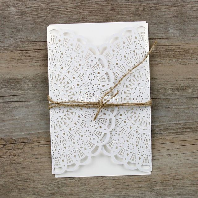 Free Shipping 30pcs Lot Pear Paper Laser Hollow Flowers Wedding Invitations Card With Envelope Linen