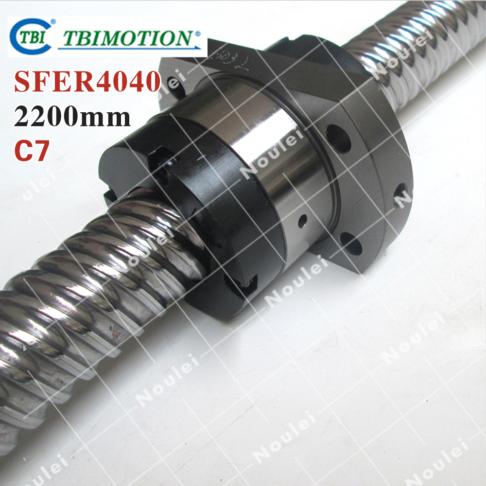 Taiwan TBI 4040 ballscrew 2200mm lead 40mm pitch with SFE4040 nut 4 rows steel ball High speed screw for CNC kit