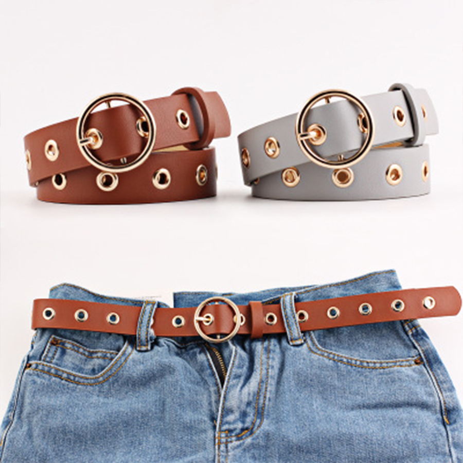 Hollow Faux Leather Waistband Lady Harajuku Gold Metal Buckle <font><b>Belts</b></font> Women Vintage Brown Black Narrow <font><b>Belt</b></font> Luxury Accessories image