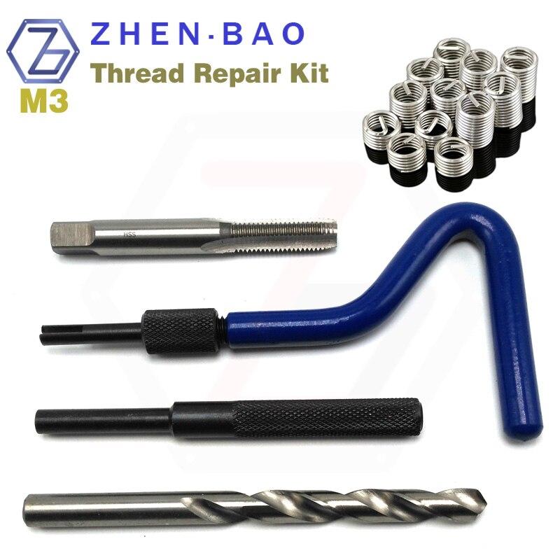 M3 *0.5 , Thread Repair Recoil Insert Kit ,  With 12pcs Helical Screw Insert , ST Tap , Install Handle , Break Tool , Drill
