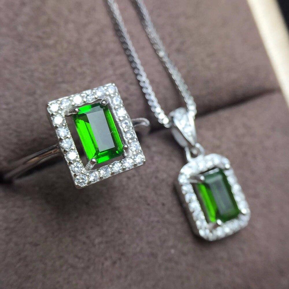 Natural diopside set crystal clean 925 silver square gemstone natural gem store