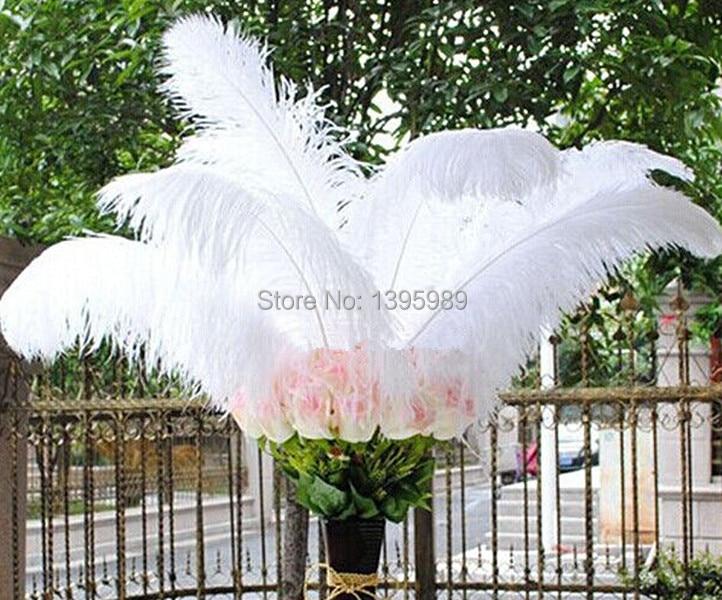 무료 배송 도매 100 pcs 아름다운 자연 흰색 타조 깃털 16 18 inch/40 45 cm 장식 diy-에서깃털부터 홈 & 가든 의  그룹 1