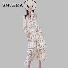 98952d375fecc SMTHMA عالية الجودة جديد أزياء المدرج 2019 مصمم فستان طويل المرأة طويلة  الأكمام كشكش نقطة بوهيميا نقطة اللباس