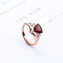 gemstone fine jewelry factory wholesale 7mm oval shape 925 sterling silver natural Garnet ring for women leige jewelry promise ring natural pink quartz ring oval cut pink gemstone 925 sterling silver ring romantic ring for women