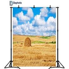 DePhoto сельская ферма поле Пшеница в снопах тюки облака голубое небо фотографии фоны для фотостудии Виниловые пользовательские фоны реквизит