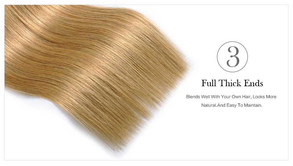 Brazilian Straight Blonde Hair Weave Bundle Beautiful Color 27# (2)