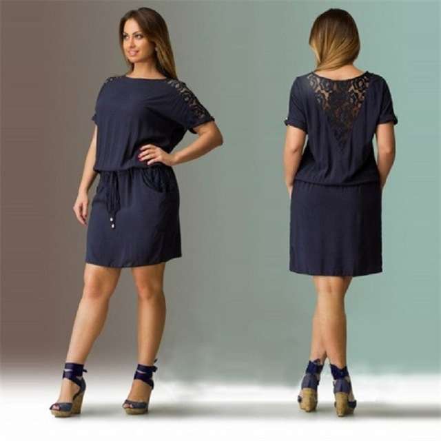 a8b7c7d17af 2017 Navy Summer Dress Plus Size Women Clothing Large Size Loose Lace Dress  Big Size Short