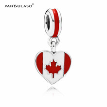 Pandulaso Sterling-Silver-Jewelry Canada Heart Flag Beads Silver 925 DIY for Jewelry Making Fit Women Charms Bracelets & Bangles(China)