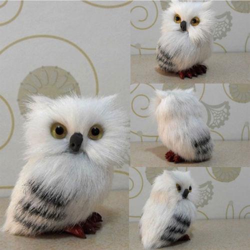 Realistic Simulation Snowy White Plush Hedwig Owl Toy Doll Simulation Model Plush Festival Gift Home Decor