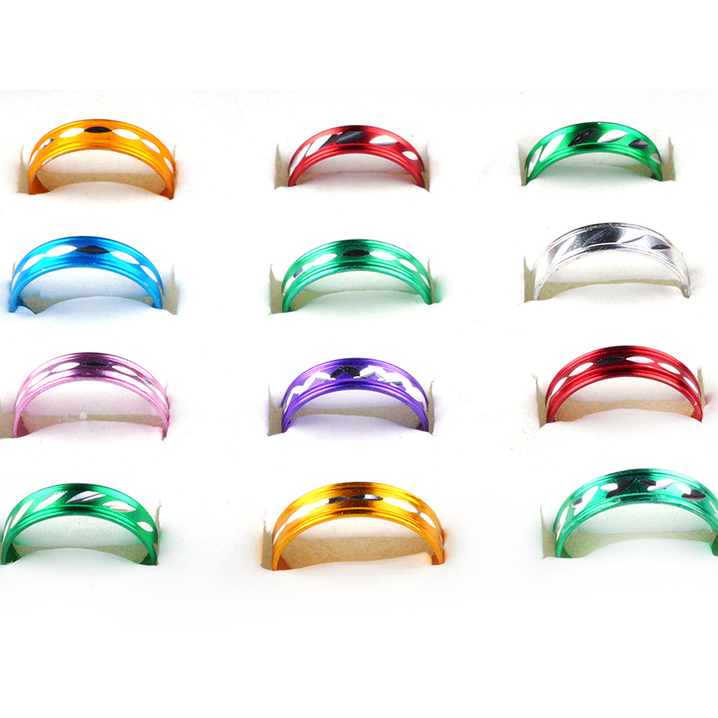 Wholesale Lots 100pcs Aluminum Rings For Women Assorted Mix Color Pattern Rings Fashion Jewelry Gifts New
