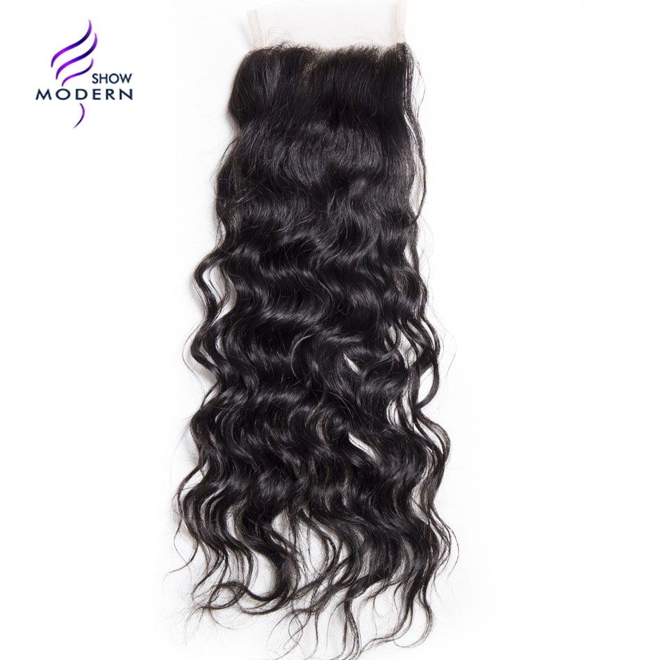 Modern Show Water Wave Closure Swiss Lace Free Part Remy Human Hair Lace Closure 130 Density