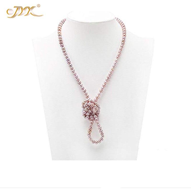 JYX collier multi-brins perle exquise 6-7mm collier de perles roses chaîne de chandail Long 30