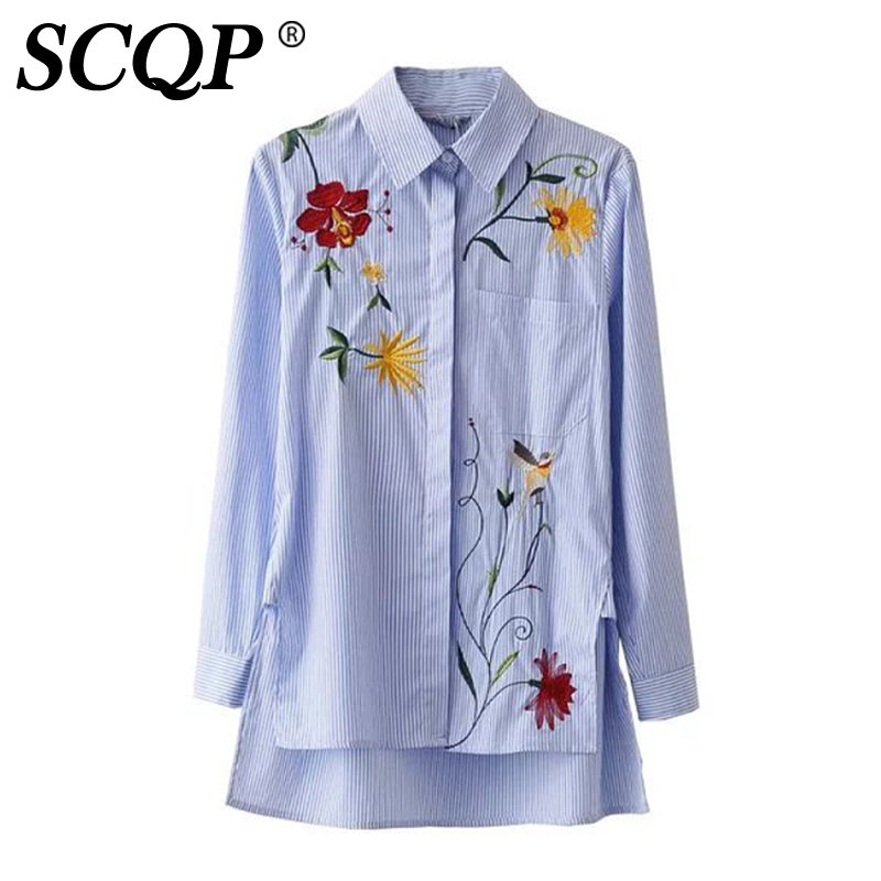 980b08339bf5 Floral Embroidery Long Sleeve Shirt Women Fashion Casual Blue Striped Women  Blouse 2016 Autumn Outwear Ladies Girls Shirts Tops-in Blouses & Shirts  from ...