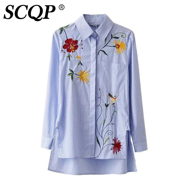 5fe3f872d8 Floral Embroidery Long Sleeve Shirt Women Fashion Casual Blue Striped Women  Blouse 2016 Autumn Outwear Ladies