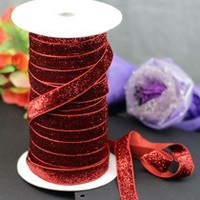 Red Glitter Velvet Metallic Ribbon DIY Jewelry Bowknot Wedding Party Sewing Webbing Decoration Gift Packing Ribbon
