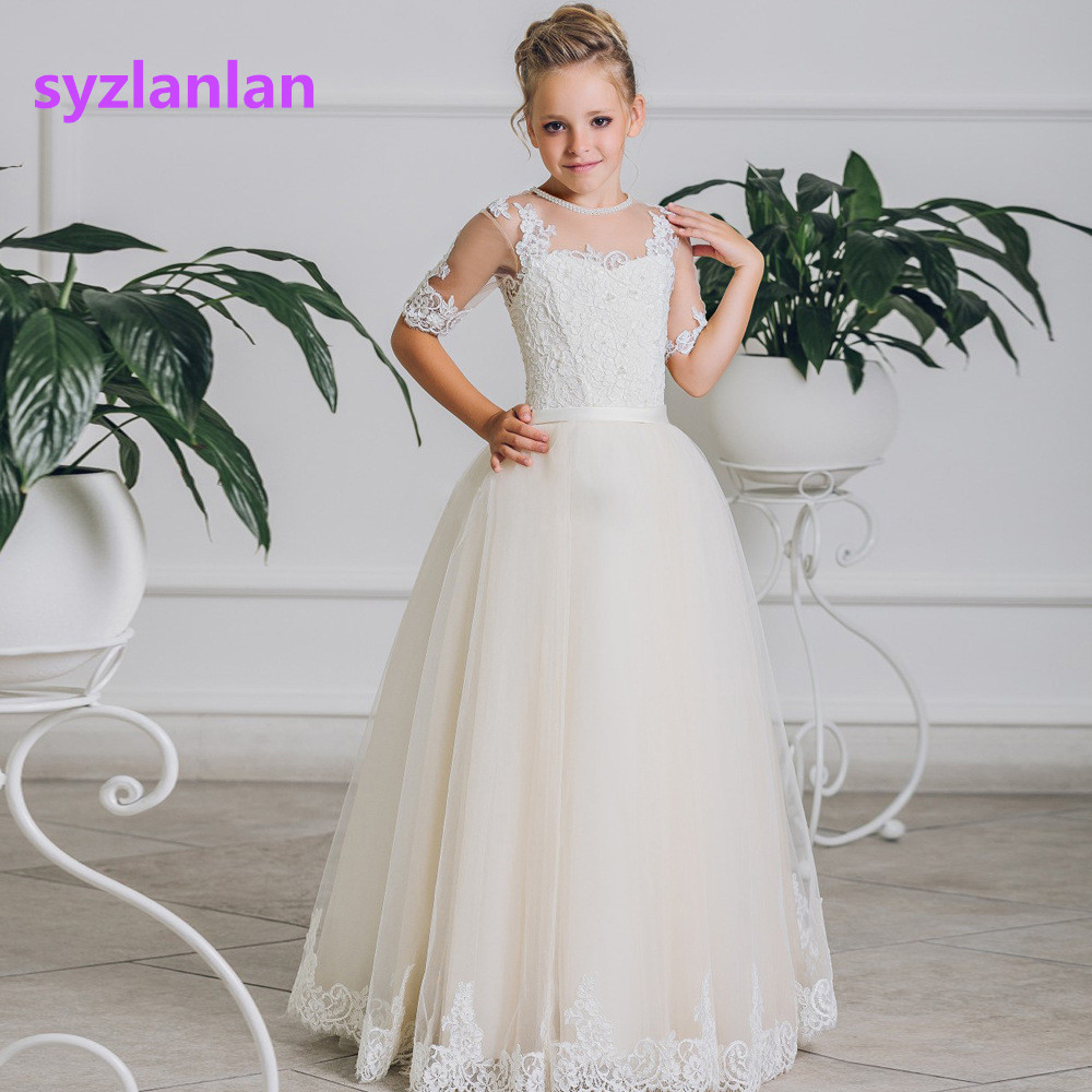 Flower Girl Dress 2017 Girls New Fashion White Lace High-grade Long Wedding Party Dresses Toddler Baby Clothing dzl