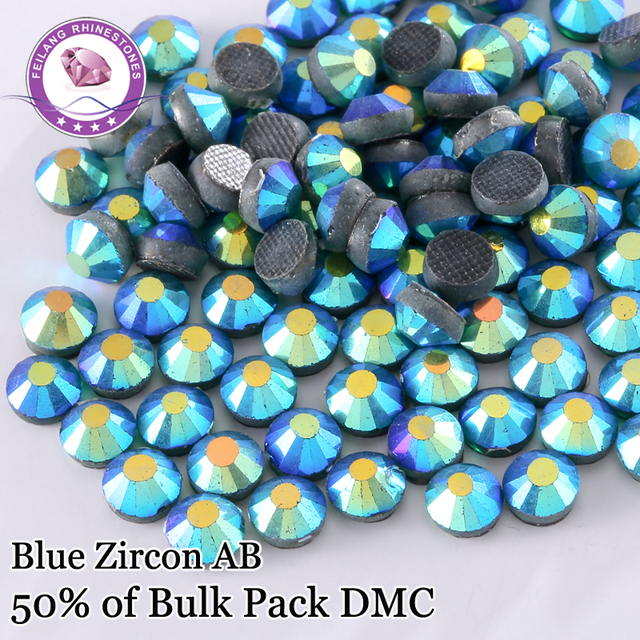 High Quality Blue Zircon AB DMC Hotfix Rhinestones For Clothing Accessories DIY Decoration Iron On Stones