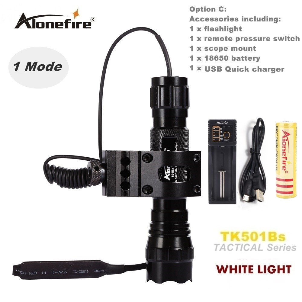 Alonefire CREE XM-L2 LED Lampu suluh taktikal 501B Lampu suluh lampu 20mm Rail Mount Airsoft Rifle Scope Shot gun cahaya 18650 bateri
