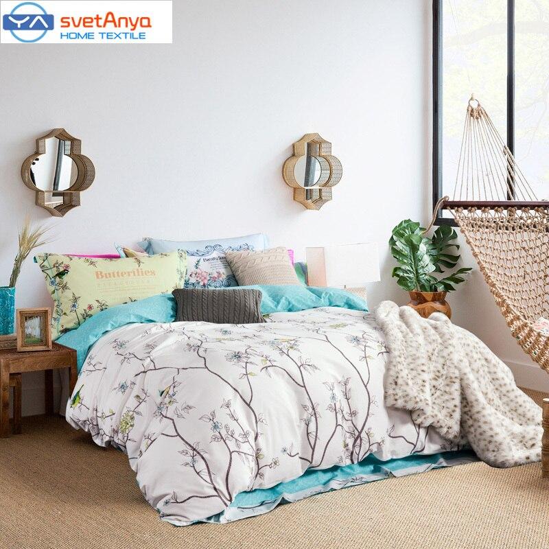 svetanya simple forest trees birds print bedding set 800tc sanding cotton queenking size duvet coverflat