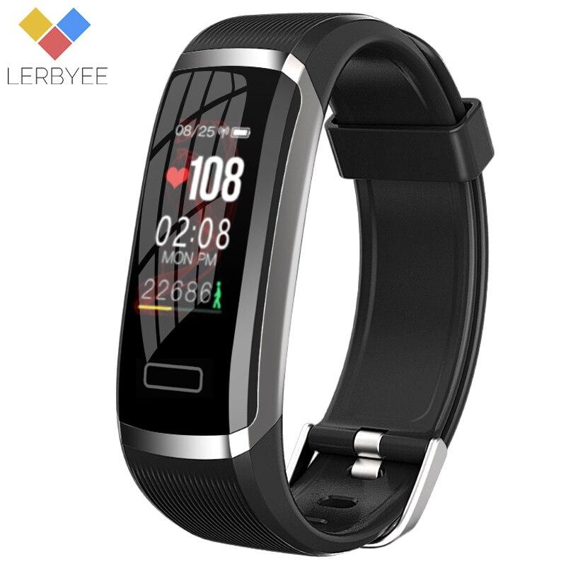 Lerbyee Bracelet intelligent GT101 moniteur de fréquence cardiaque en temps réel étanche bande de Fitness podomètre rappel d'appel activité Tracker Sport