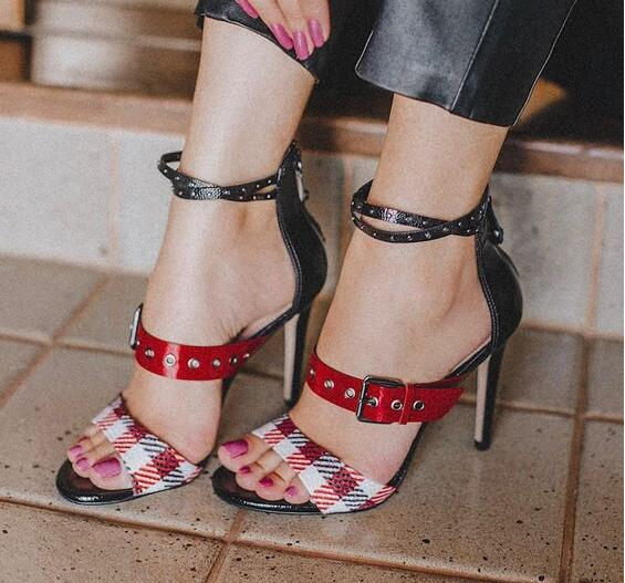 Drop Shipping Summer Women Fashion Cheap High Quality Patchwork Grid Rivets 100 mm Sexy Party Heels Sandals Shoes Lady Big SizeDrop Shipping Summer Women Fashion Cheap High Quality Patchwork Grid Rivets 100 mm Sexy Party Heels Sandals Shoes Lady Big Size