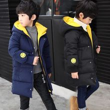 Childrens Clothing  winter Casual Cotton Zipper Solid boy Outerwears Kids boys Hooded Parka 4 6 8 10 12 14 Years parkas