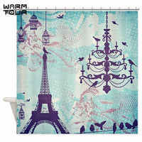 Warm Tour Paris Paris Eiffel Tower Bird Pendant Lamp Decorative Fabric Shower Curtain WTC056