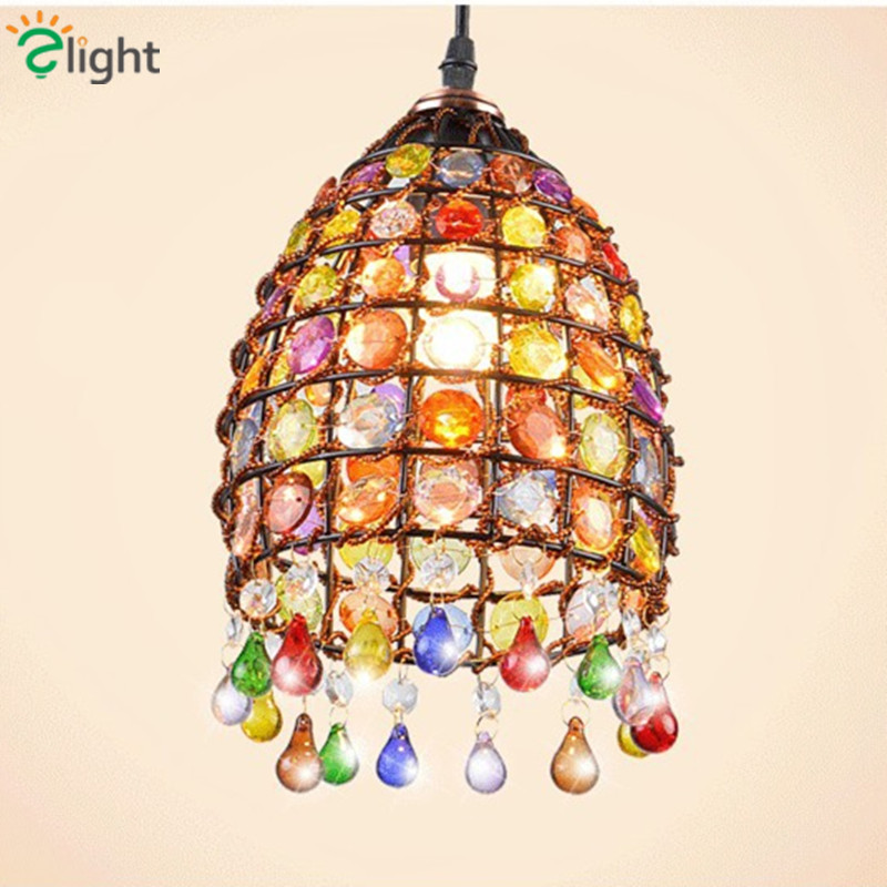 Vintage Bohemia Pastoral E27 Led Pendant Chandeliers Lustre Hand Knitted Crystal Bedroom Led Hanging Lights Led Pendant Fixtures