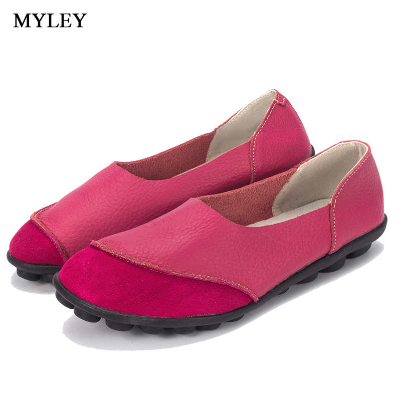 MYLEY Spring Womens Ballet Flats Loafers Soft Leather Flat Women's Shoes Slip on Genuine Leather Ballerines  Femme Chaussures timetang spring womens ballet flats loafers soft leather flat women s shoes slip on genuine leather ballerines femme chaussures