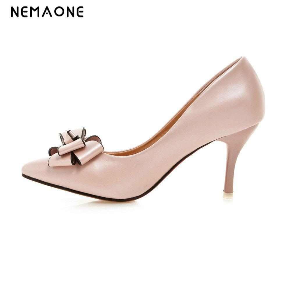 NEMAONE Sexy Point Toe Patent Leahter High Heels Pumps Shoes 2017 Newest Woman's Red Heels Shoes Wedding Shoes 9cm 35-43 Size shoesofdream women s 2015 summer peep pointed toe red anke strap patent leahter sexy spike high heels