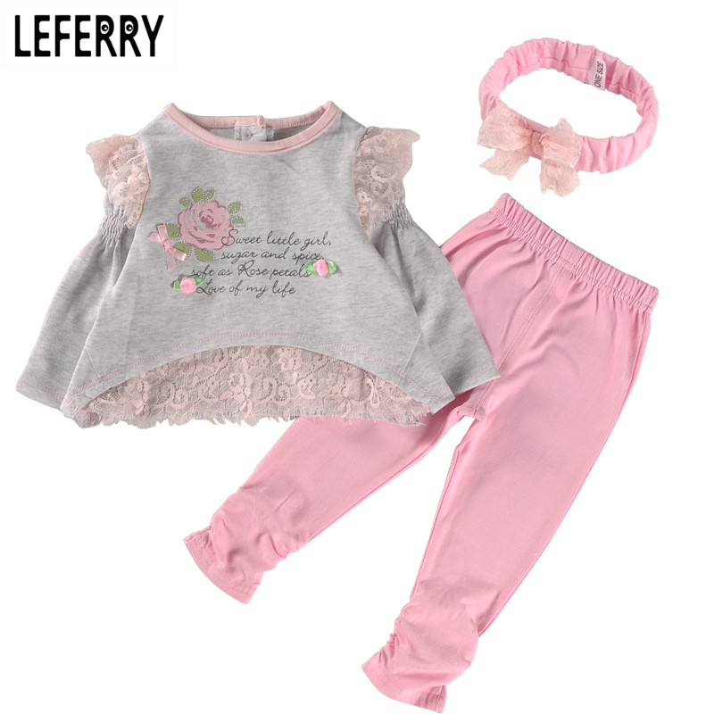 2018 New Spring Baby Girl Clothes Set Cotton Lace Little Girl Clothing Sets Newborn Infant Clothing Baby Suits Birthday Party 3 pcs baby girl bodysuits set organic cotton romper cartoon headbands infant clothes set newborn clothing suits lace skirt sets
