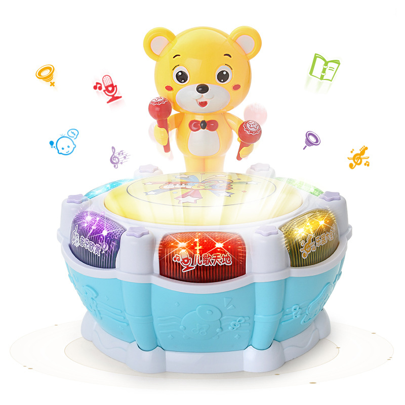 Baby Vocal Toy Music Sound Patting Drum Educational Toys For Children Funny Bear Dancing Hand Drum Electronic Singing Baby Toys