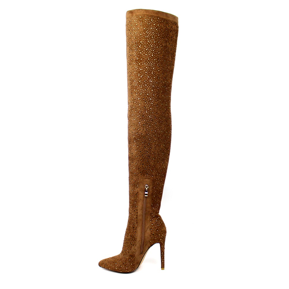 Lange High Frauen Zip 5 Heel Seite Stiletto Winter Knie Braun Damen Aiyoway Größe Uns Herbst Große Kristall Über 15 Welle Stiefel pq67Bnn