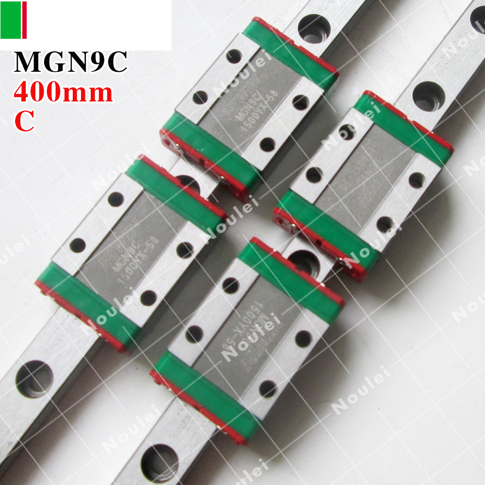 HIWIN MGN9 slider block with 400mm MGNR9 Linear Guide Rail 9mm Miniature MGN for 3d printer parts 2pcs hiwin hgh25ca linear guide slider block linear rails carrier