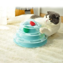 Pet Cat IQ Training Toy 4-Layer Kittens Entertainment Disc Turntable Cat Amusement Plate with Balls Trilaminar Cat scratcher Toy