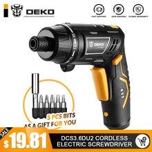 DEKO DCS3.6DU2-S1, Беспроводная электрическая отвертка, перезаряжаемая электрическая отвертка, бытовая, сделай сам, Вращающаяся ручка, беспроводной LEDTorch