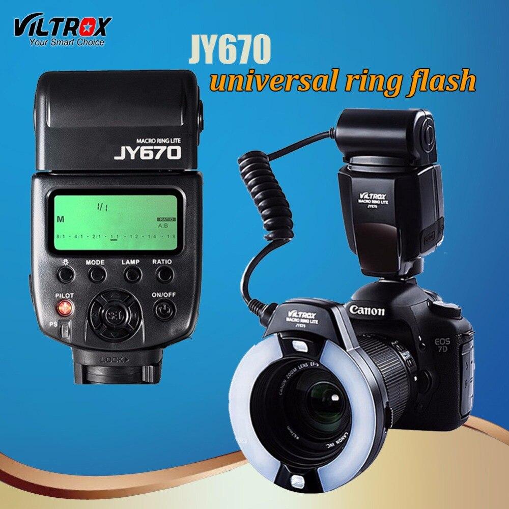 Viltrox JY-670 LED Macro Anneau Caméra Speedlite Flash light pour Canon 1300D 7D Mark II Nikon D810A 90D Pentax Olympus Panasonic