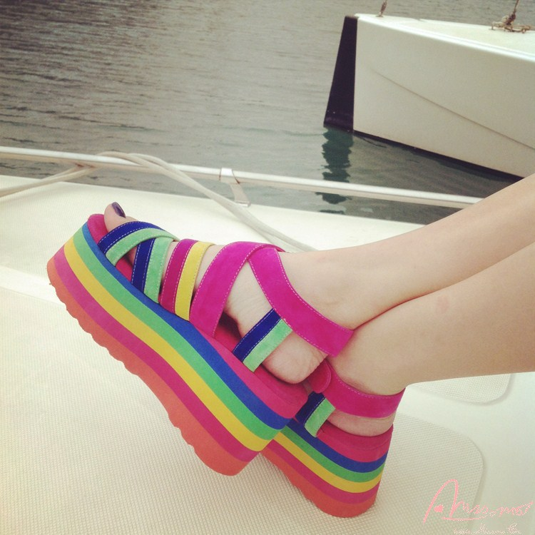 280a01b5ea2 2015 Women Rainbow Colors Sandals Flat Platform Shoes Wedge Sandals Thick  Heel Platform Sandals Open Toe Summer Shoes High Heel-in Women s Sandals  from ...