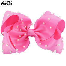 AHB 7 Inch Solid Large Hair Bows for Girls Cute Pink Ribbons Bowknot Pearls Clips Handmade Hairgrips Kids Headwear