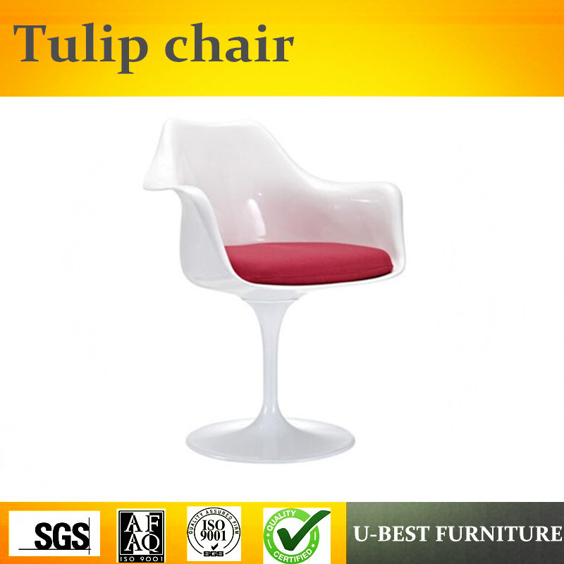 U-BEST High quality modern comfortable fiberglass tulip chair with armrest u best modern fiberglass bar chair dining chairs with fabric cushion designer classic tulip dining chair